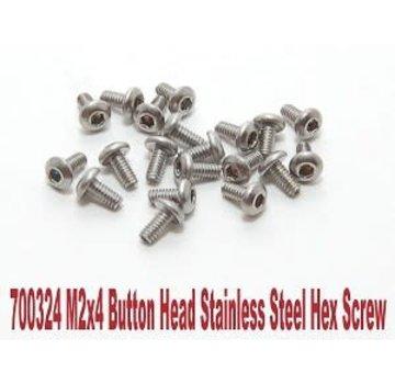 PN Racing PN Racing M2x4 Button Head Stainless Steel Hex Machine Screw (20pcs)