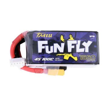 Tattu Tattu FunFly 1550mAh 100C 14.8V 4S1P lipo battery pack with XT60 Plug for Practice