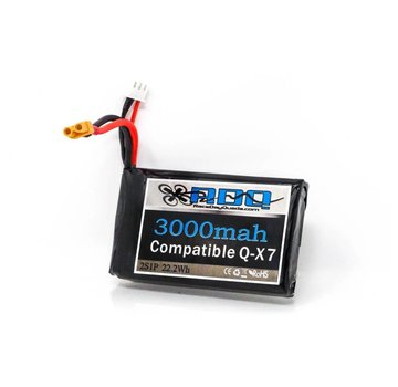 RaceDayQuads RDQ 3000mah 2S 7.4v QX7 compatible Lipo Battery w/ XT30 or 5.5x2.1mm Barrel Connector