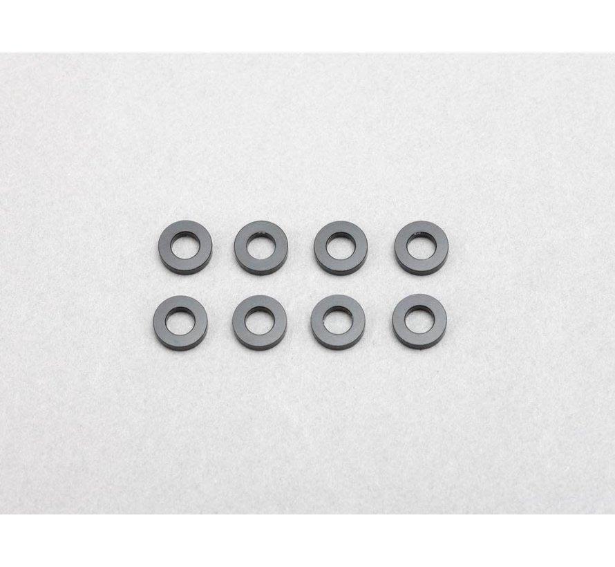 Yokomo (ZC-A3615B) 3x6x1.5mm Aluminum Shim (Black) (8)