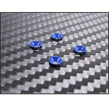 PN Racing PN Racing Aluminum M2 Countersunk Washer Blue (4pcs) (700507B)