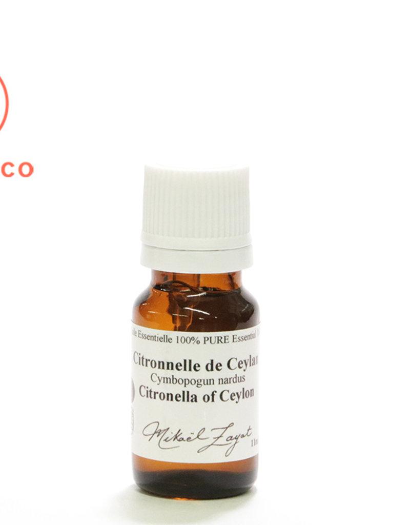 Zayat Aroma Inc. Huile Essentielle de Citronnelle de Ceylan biologique Inde (11 ml)