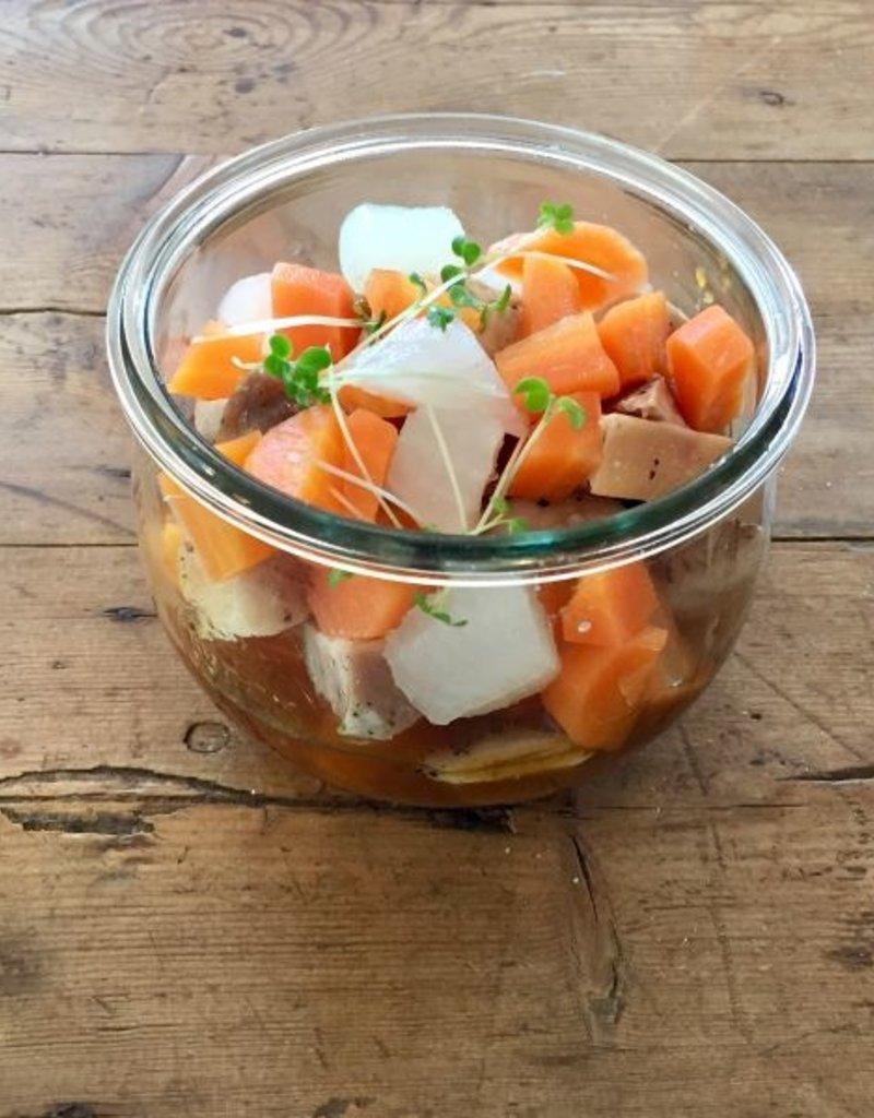 Bocobistro Sauté de poulet sauce érable et poivre, purée de patates douces et légumes