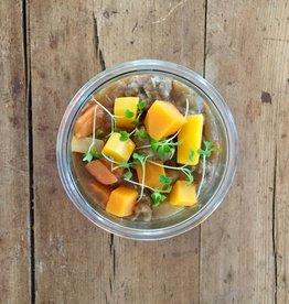 Bocobistro Boulettes de jambon  fumé à l'érable et boeuf, purée de carottes et pommes de terre, fèves au lard