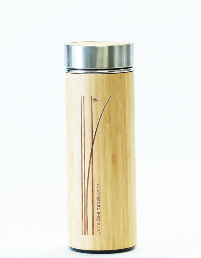 Camellia Sinensis Bouteille à thé en porcelaine fini bambou (275 ml)