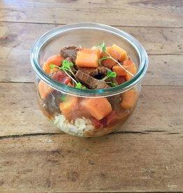 Restaurant Bocobistro - Bistro français en bocaux Boeuf Stroganoff, riz et carottes nantaises