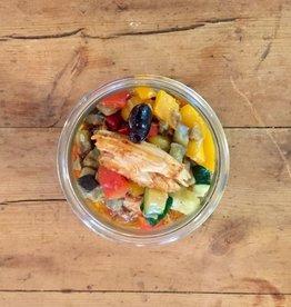 Restaurant Bocobistro - Bistro français en bocaux Effiloché de Lapin du Québec aux olives, polenta et ratatouille
