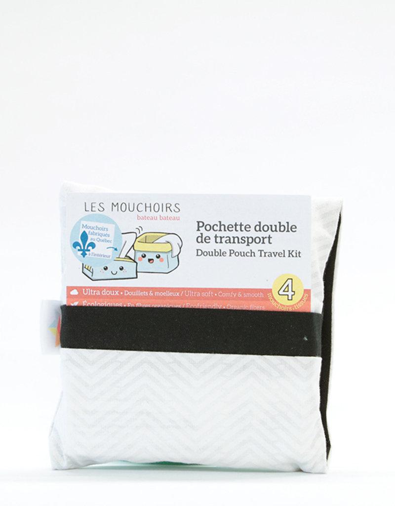 Bateau bateau Pochette double avec 4 mouchoirs lavables