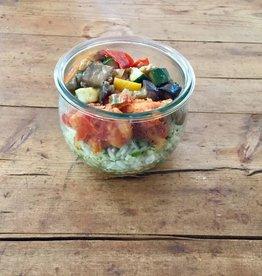 Restaurant Bocobistro - Bistro français en bocaux Effiloché de morue aux légumes du soleil, riz aux épinards