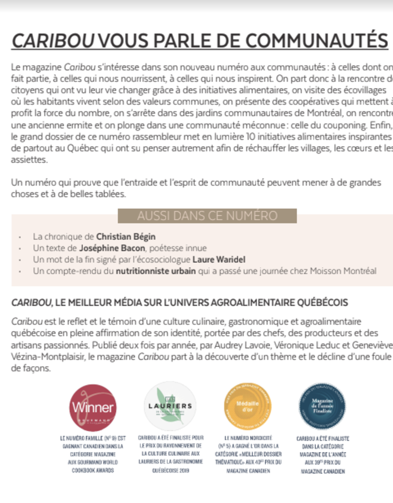 Caribou magazine Magazine caribou - les communautés