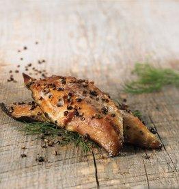 Poissonnerie Atkins & Frère Maquereaux fumés au poivre de Malabar (150 gr environ)
