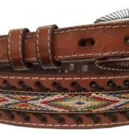 Chick Saddlery Childs Woven Southwestern Diamond Leather Belt