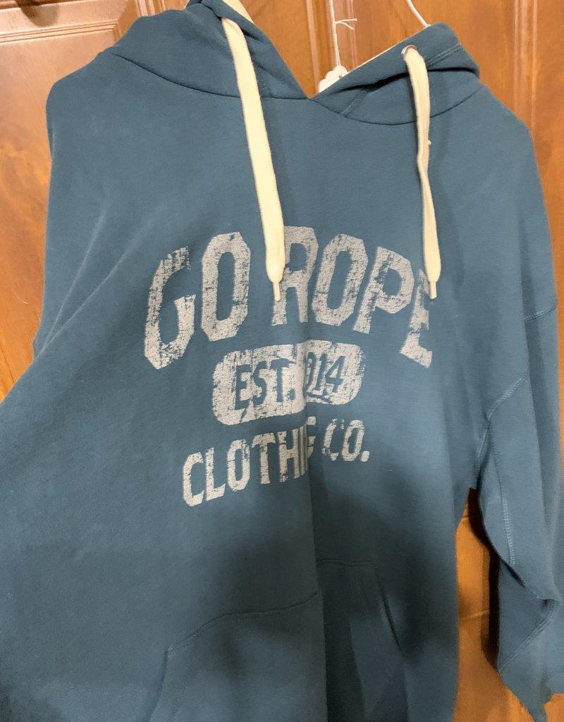 Go Rope Men's Sueded Vintage Hoodie- Dark Teal - XL