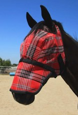 Kensington Fly Mask w/Removable Nose & Web trim Size: Large Color: 161- Deluxe Red Plaid