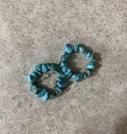 Dakota Cowgirl Turquoise Rock Hoop Earring
