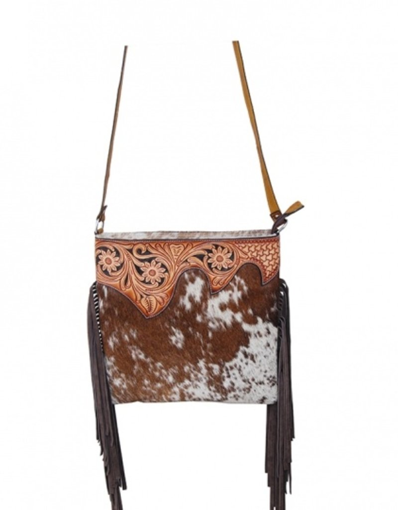 Rafter T Ranch Company Crossbody Bag- Cowhide Hair (Brown/White) w/ Tooled Top