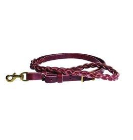 Professional's Choice 3-plait burgundy roping rein SB