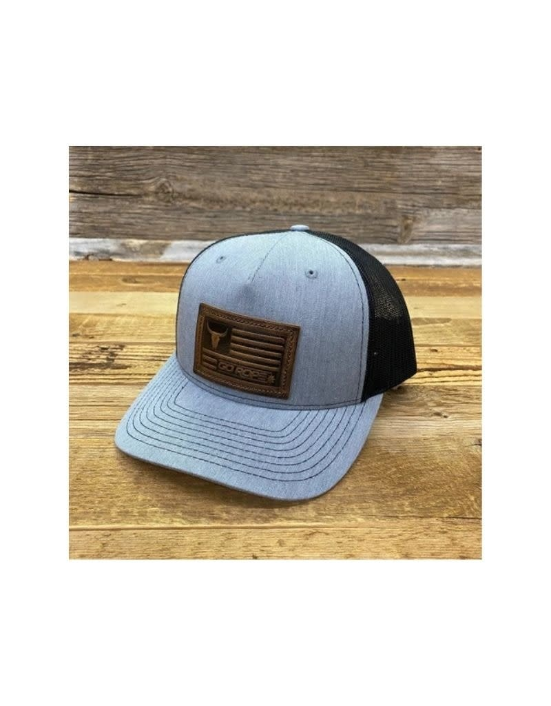 Go Rope Embossed Leather Patch Hat Gray/Black