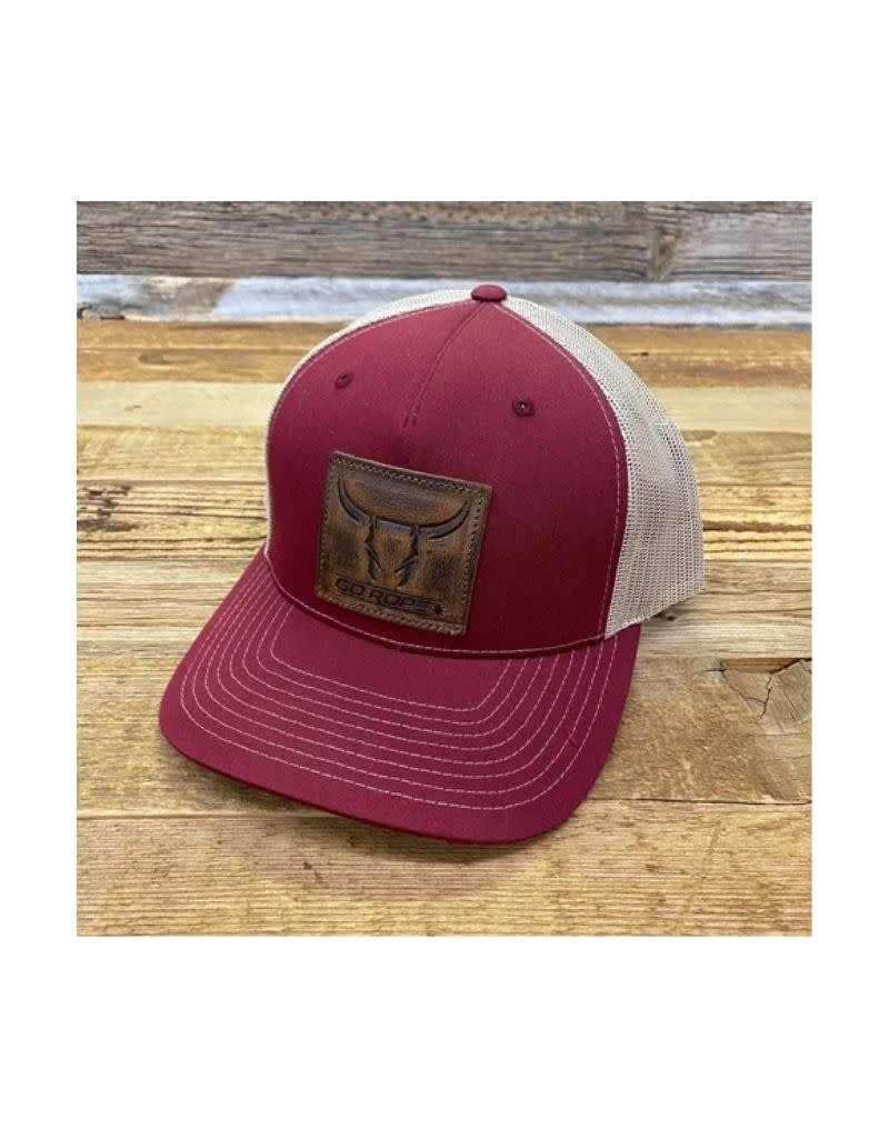 Go Rope Leather Steer Patch Hat Cardinal Red/Khaki