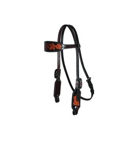 Professional's Choice Forget-Me-Not - Browband Headstall - Black Red Feather