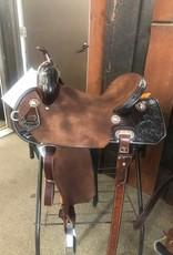 "Burns Saddlery 2763 Chocolate RO Barrel saddle 15"" 30 tree MD w/1/2 quilt/sunflower"