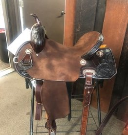 "Burns Saddlery 2763 Chocolate RO Barrel saddle 15"" 30 tree MD w/1/2 quilt/sunflower"