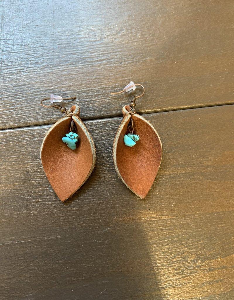 Dakota Cowgirl Small Leaf Earrings w/turquoise rocks
