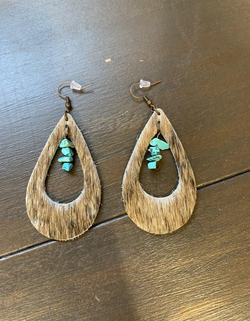 Dakota Cowgirl Large Hide Earrings w/turquoise rocks