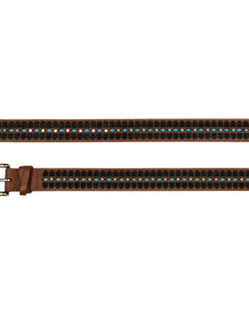 Catchfly Ladies Belt Tan w/Turquoise