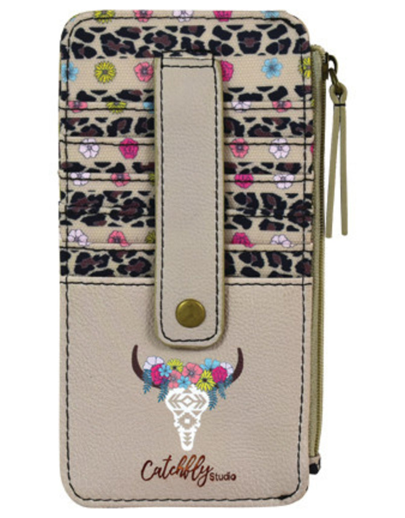 Catchfly Card Wallet Floral Cow Skull