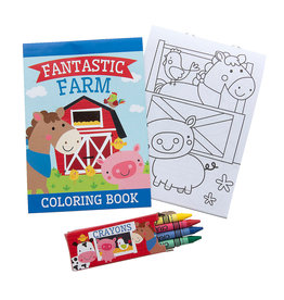 Oriental Trading Farm Coloring Book with Crayons