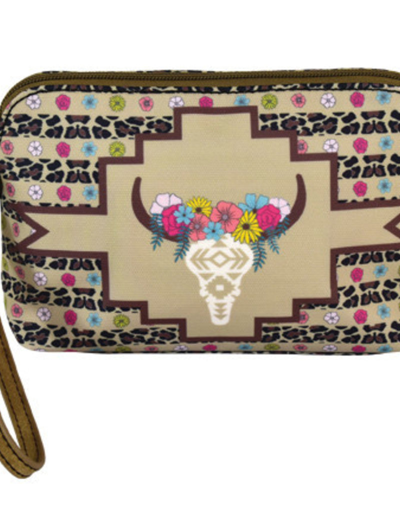 Catchfly Essentials Pouch Floral Cow Skull