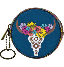 Catchfly Round Coin Purse Floral Cow Skull