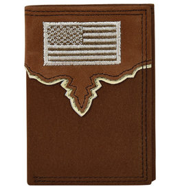 Justin Men's Trifold Wallet Yoke w/USA Flag