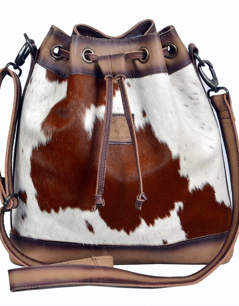Rafter T Ranch Company Bucket Drawstrings Bag w/Brown & White Hairon