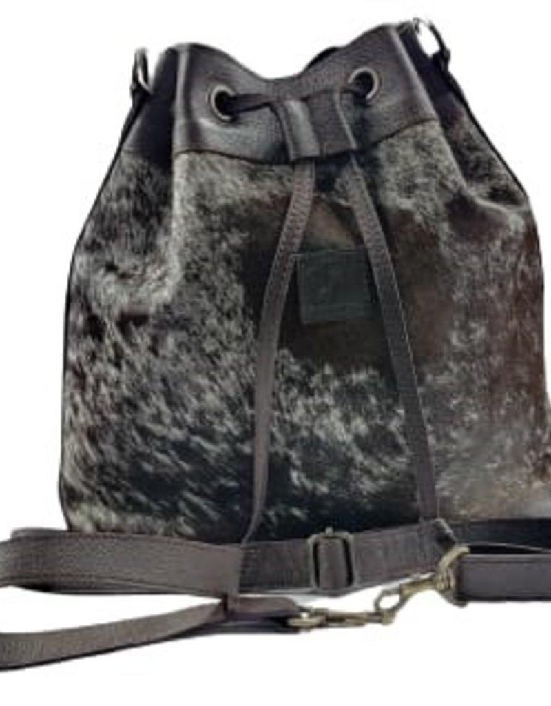 Rafter T Ranch Company Bucket Drawstrings Bag w/Black & White Hairon