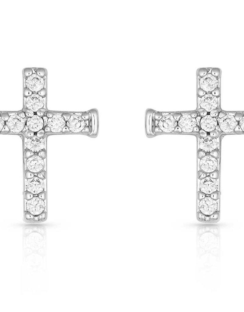 Montana Silversmiths Quiet Faith, Tiny Crystal Cross Earrings