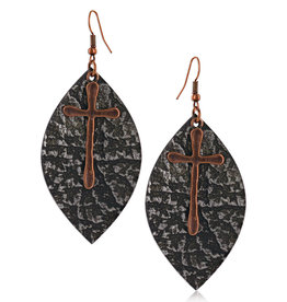 Montana Silversmiths Natured Crosses Soft Leather Attitude Earrings
