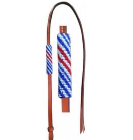 Showman Showman 4' Leather Over & Under Red/White/Blue Beaded