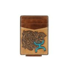 Hooey Signature Card Wallet Tooled, Turq. Logo