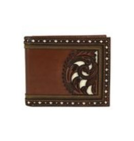 Justin Bifold Wallet Brown W/Tooling