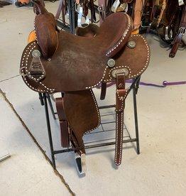Burns Saddlery 3009 4530HD Choc RO w/white buckstitch