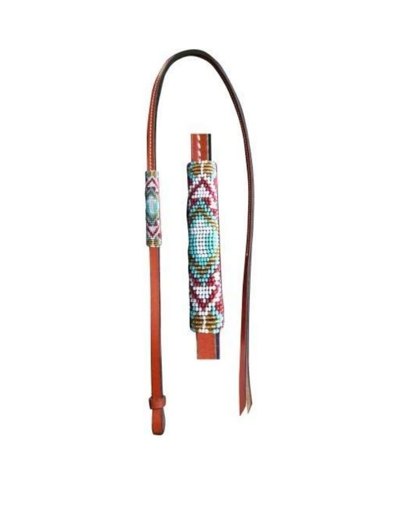 Showman Showman 4' Leather Over & Under Beaded