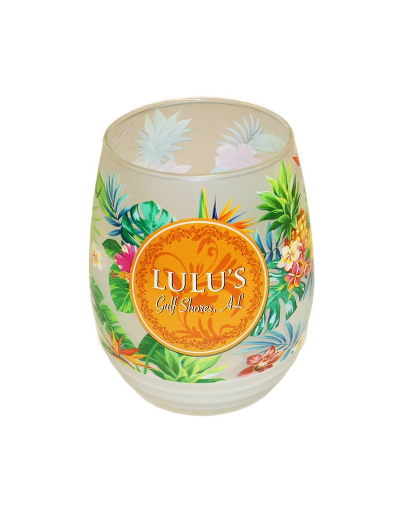 LuLu's Pattern Stemless Frosted Wine Glass