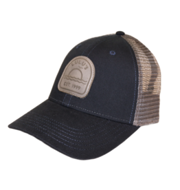 Grey Leather Patch Trucker Hat