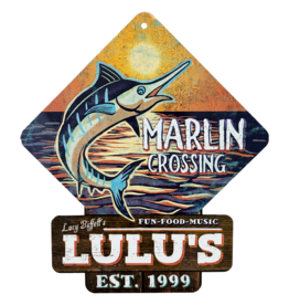 Marlin Crossing Metal Sign
