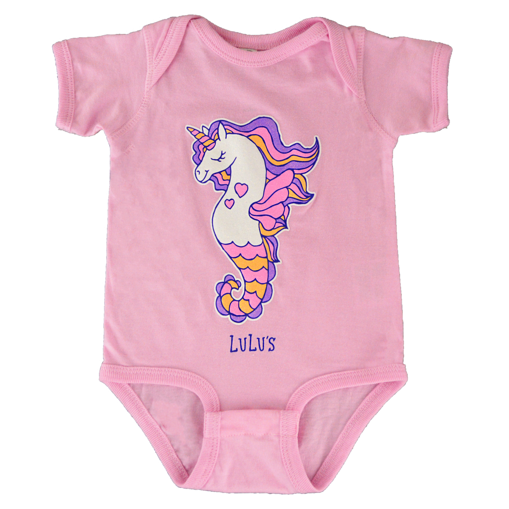 Infant Bubblegum Seahorse Onesie