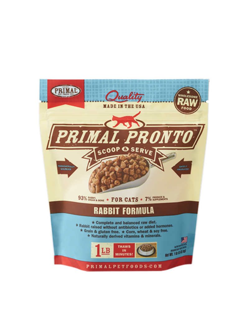 Primal Primal Pronto Cat Frozen Raw Rabbit 1lb