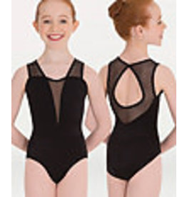Body Wrappers Black Petite Floral Mesh Keyhole Back Leotard