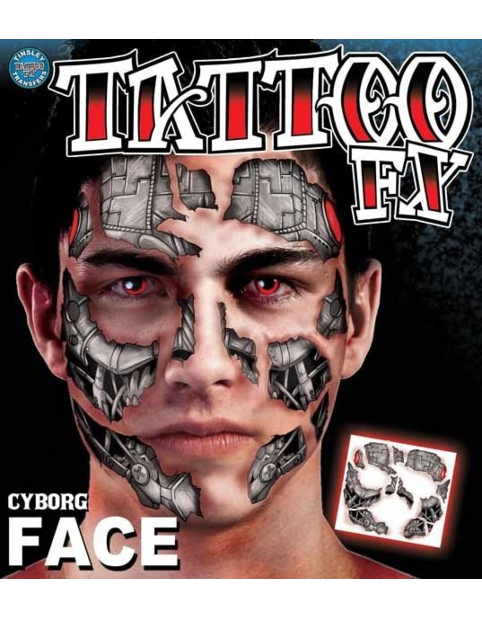 Tinsley Transfers Cyborg Face Tattoo